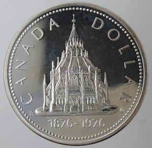 reverse: Monete Estere. Canada.Elisabetta II.Dollaro 1976. Libreria del Parlamento. AG 500. Km. 106. Peso gr. 22,60. Proof.