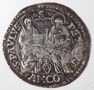 reverse: Zecche Italiane.Ancona. Alessandro VI. 1492-1503. Grosso. Ag?. Muntoni 22. Peso gr. 3,07. Diametro mm. 27,50. Schiacciature altrimenti BB. FALSO. FAKE COIN. RRR.