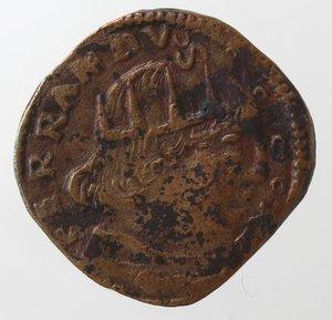 obverse: Zecche Italiane.L Aquila. Ferdinando I d Aragona. 1458-1494. Cavallo aquila sotto la zampa. Ae. Biaggi, 123. Peso gr. 2,36.  Diametro mm. 18. BB.