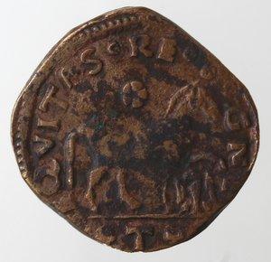 reverse: Zecche Italiane.L Aquila. Ferdinando I d Aragona. 1458-1494. Cavallo aquila sotto la zampa. Ae. Biaggi, 123. Peso gr. 2,36.  Diametro mm. 18. BB.