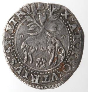 reverse: Zecche Italiane. L Aquila. Carlo V. 1519-1556. Carlino. Ag. MIR 120. Peso gr. 2,97. Diametro mm. 24. BB. NC.