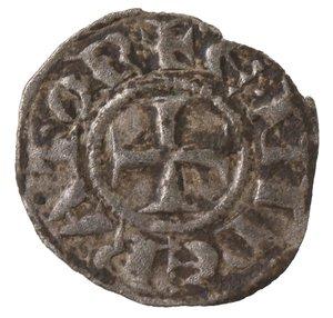 obverse: Zecche Italiane. Brindisi o Messina. Enrico VI di Svevia. 1194-1197. Denaro a nome di Enrico e Costanza. Mi. Sp. 28. Peso 0,60 gr. qSPL.