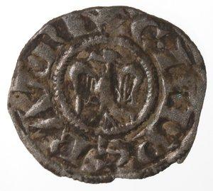 reverse: Zecche Italiane. Brindisi o Messina. Enrico VI di Svevia. 1194-1197. Denaro a nome di Enrico e Costanza. Mi. Sp. 28. Peso 0,60 gr. qSPL.