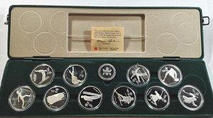 obverse: Monete Estere. Canada.Elisabetta II. Serie da 10 monete da 20 dollari. Ag 925. FDC. Proof. In confezione della zecca.
