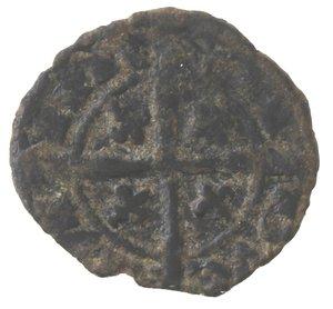 reverse: Zecche Italiane. Brindisi. Carlo I d'Angiò.1266-1285.Denaro. MI.D/ K. R/ Croce, nei quarti gigli. Sp.31. Peso 0,75 gr.BB. R.