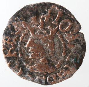 obverse: Zecche Italiane. Cagliari. Giovanni II d Aragona. 1458-1479. Reale minuto. Ae. Biaggi 514. Peso gr. 0,79. Diametro mm. 15. qBB. R.