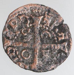 reverse: Zecche Italiane. Cagliari. Giovanni II d Aragona. 1458-1479. Reale minuto. Ae. Biaggi 514. Peso gr. 0,79. Diametro mm. 15. qBB. R.