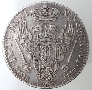 reverse: Zecche Italiane. Firenze. Francesco III. 1737-1765. Francescone 1747. Ag. Peso gr. 27,08. Gal. XII/1.  qBB. R.
