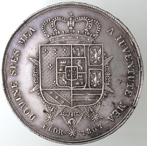 reverse: Zecche Italiane.Firenze.Carlo Ludovico di Borbone. 1803-1807. Dena 1807.Ag. Gig. 11. Peso gr. 39,06.Diametro mm. 46. BB-BB+.