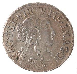 obverse: Zecche Italiane. Fosdinovo. Maria Maddalena Centurioni Malaspina. 1663-1669. Luigino anonimo 1666. Ag. Camm.066. Peso gr. 2,03. Diametro mm. 20,50. SPL+. Bella patina.