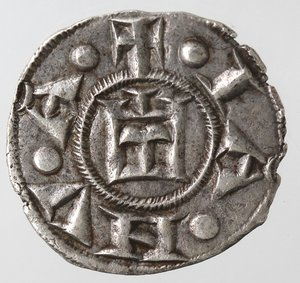 obverse: Zecche Italiane. Genova. Repubblica. 1139-1339. Denaro. Ag. D/ CVNRADI REX. R/ IANVA. MIR 16. Peso 0,76 gr. Diametro 16,00 mm. SPL+.