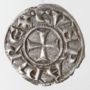 reverse: Zecche Italiane. Genova. Repubblica. 1139-1339. Denaro. Ag. D/ CVNRADI REX. R/ IANVA. MIR 16. Peso 0,76 gr. Diametro 16,00 mm. SPL+.