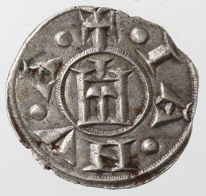 obverse: Zecche Italiane. Genova. Repubblica. 1139-1339. Denaro. Ag. D/ CVNRADI REX. R/ IANVA. MIR 16. Peso 0,79 gr. Diametro 16,00 mm. SPL+.