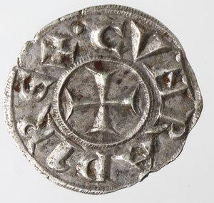 reverse: Zecche Italiane. Genova. Repubblica. 1139-1339. Denaro. Ag. D/ CVNRADI REX. R/ IANVA. MIR 16. Peso 0,79 gr. Diametro 16,00 mm. SPL+.