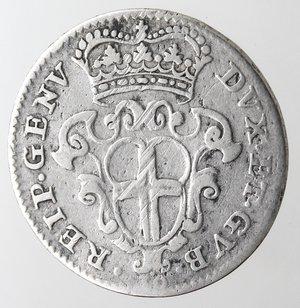 obverse: Zecche Italiane.Genova.Dogi Biennali. 1528-1797.10 soldi 1675.Ag. Mir. 328/5.Peso gr. 2,34. Diametro mm. 20,50. BB.