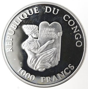 obverse: Monete Estere. Congo. 1000 Franchi 2003. Ag 990. Km. 50. Peso gr. 19,90. Diametro mm. 40.FDC Proof.