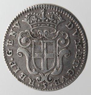 obverse: Zecche Italiane.Genova.Dogi Biennali. 1528-1797.5 soldi 1675.Ag. MIR 338/5.Peso gr. 1.10.Diametro mm. 11,50. BB+.