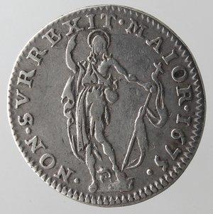 reverse: Zecche Italiane.Genova.Dogi Biennali. 1528-1797.5 soldi 1675.Ag. MIR 338/5.Peso gr. 1.10.Diametro mm. 11,50. BB+.