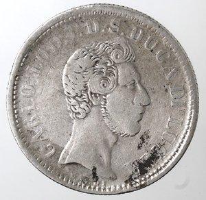 obverse: Zecche Italiane. Lucca. Carlo Ludovico di Borbone. 1824-1847. 2 lire 1837. Ag. Peso gr. 9,56. Gig. 1. MB. R.