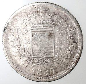 reverse: Zecche Italiane. Lucca. Carlo Ludovico di Borbone. 1824-1847. 2 lire 1837. Ag. Peso gr. 9,56. Gig. 1. MB. R.