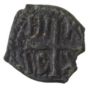 reverse: Zecche Italiane. Messina. Ruggiero II. 1105-1154. Mezzo follaro. Ae. Variante scritta inversa. Sph. 77. Peso gr. 1,94. Diametro mm. 13,50. qSPL.