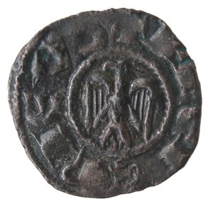 obverse: Zecche Italiane. Messina. Federico II. 1197-1250. Denaro. Aquila volta a sx. Mi. R/ Croce REX SICILIE. Mir. 81. Peso gr. 0,59. Diametro mm. 14,20. BB+ R. .