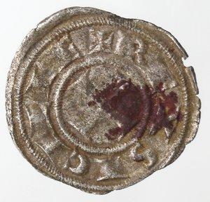 obverse: Zecche Italiane. Messina. Federico II. 1197-1250. Denaro. F.R. Mi. Sph. 109. Peso gr. 0,50. BB.