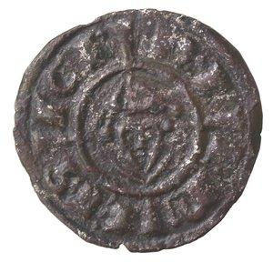 obverse: Zecche Italiane. Messina. Federico II. 1197-1250. Denaro. Mi. Busto frontale. Sph. 121. Peso gr. 0,68. SPL. R.