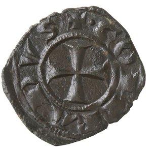 obverse: Zecche Italiane. Messina. Corrado I. 1250-1256. Denaro. Mi. Sph. 156. Peso gr. 0,75. BB+. Con cartellino di Roland Becker.