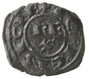 reverse: Zecche Italiane. Messina. Corrado I. 1250-1256. Denaro. Mi. Sph. 156. Peso gr. 0,75. BB+. Con cartellino di Roland Becker.