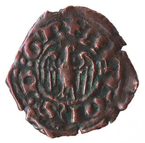 obverse: Zecche Italiane. Messina. Alfonso. 1416-1458. Denaro. Ae. Mir. 227. Peso gr. 0,64. Diametro mm. 15,00. qSPL. NC.