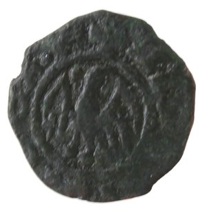 reverse: Zecche Italiane. Messina. Alfonso. 1416-1458. Denaro. Ae. Mir. 227. Peso gr. 0,54. Diametro mm. 12,00. BB. Patina scura. NC.