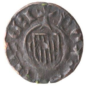 obverse: Zecche Italiane. Messina. Giovanni d Aragona. 1458-1479. Denaro. Sigle II. Ae. Sp. 126/131. Peso gr. 0,51. Diametro mm. 14,00. Bel BB.