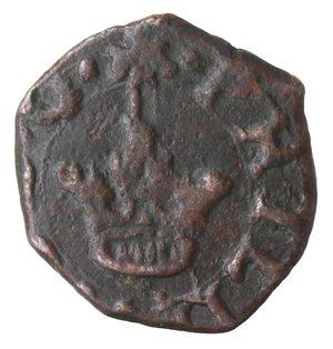obverse: Zecche Italiane. Messina. Filippo II. 1556-1598. 2 Piccioli. Ae. Sp. 127. Peso gr. 1,06. Diametro mm. 13,50. qSPL. Difetto al rovescio.