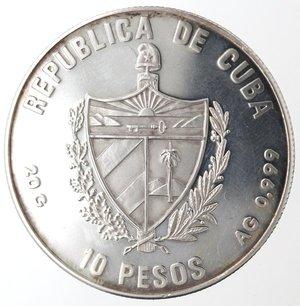 obverse: Monete Estere. Cuba. 10 Pesos 1989. Ag 999. Km. 238. Peso gr. 20,04. Diametro mm. 38.FDC Proof.