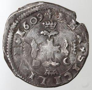 reverse: Zecche Italiane.Messina.Filippo III. 1598-1621.3 tarì 1609.Ag. Sp.42.Peso gr. 7,66. Diametro mm. 25. SPL.Conservazione eccezionale.