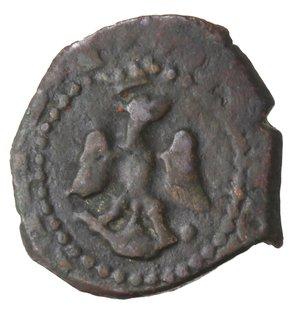 obverse: Zecche Italiane. Messina. Filippo III. 1598-1621. 3 Piccioli. Sigle IP. Data? Ae. Peso gr. 1,73. Diametro mm. 15. qSPL. Patina scura.