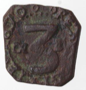obverse: Zecche Italiane. Messina. Carlo II. 1665-1700. 3 Piccioli. Ae. Sigla DI BV. Zecchiere GB Vigevi. Sp. 25. Peso gr. 1,04. Diametro mm. 14. qSPL. R.