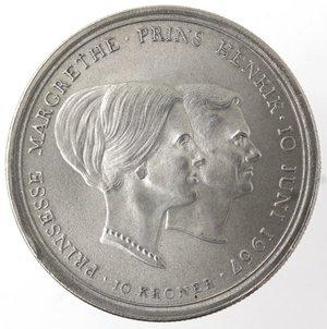 reverse: Monete Estere. Danimarca. 10 Corone 1967. Ag 800. Km. 856. Peso gr. 20,50. Diametro mm. 36.qFDC.