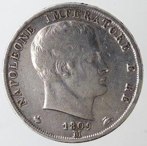 obverse: Zecche Italiane. Milano. Napoleone. 1805-1814. 2 Lire 1809. Ag. Gig. 129. Peso gr 9,93. qSPL. Marginali graffi di conio. NC.