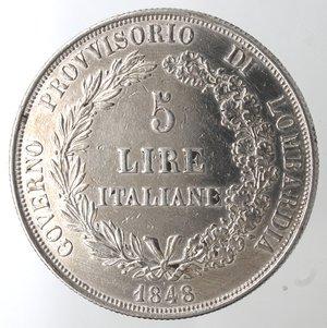 obverse: Zecche Italiane. Milano. Governo Provvisorio. 1848. 5 lire 1848. Ag. Gig. 3. Peso gr. 24,95. qSPL. Minimi graffietti.