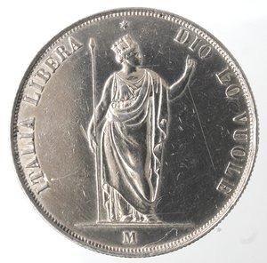 reverse: Zecche Italiane. Milano. Governo Provvisorio. 1848. 5 lire 1848. Ag. Gig. 3. Peso gr. 24,95. qSPL. Minimi graffietti.