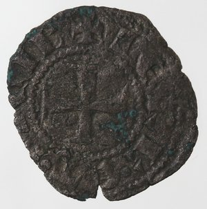 obverse: Zecche Italiane. Napoli. Carlo II d Angiò. 1285-1309. Denaro gherardino.Mi. D/ Quattro gigli. R/ Croce. P.R.5. Peso gr. 0,45.
