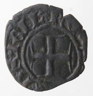 obverse: Zecche Italiane. Napoli. Roberto d Angiò. 1309-1343. Denaro. Mi. MIR 29. Peso gr. 0,61. Diametro mm. 14. BB+. Patina scura. NC.
