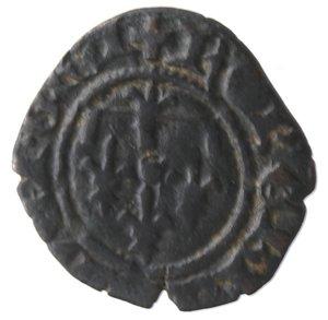reverse: Zecche Italiane. Napoli. Roberto d Angiò. 1309-1343. Denaro. Mi. MIR 29. Peso gr. 0,61. Diametro mm. 14. BB+. Patina scura. NC.