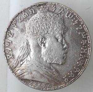 obverse: Monete Estere. Etiopia. Menelik II. 1889-1913. Birr 1895. Ag 835. Km. 19. Peso gr. 27,98. qBB. Appiccagnolo asportato o probabile utilizzo come spilla.