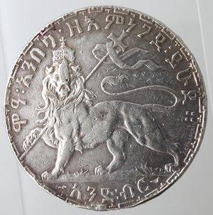 reverse: Monete Estere. Etiopia. Menelik II. 1889-1913. Birr 1895. Ag 835. Km. 19. Peso gr. 27,98. qBB. Appiccagnolo asportato o probabile utilizzo come spilla.