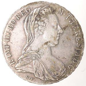 obverse: Monete Estere. Austria. Maria Teresa. 1740-1780. Tallero 1780. Ag. Peso 27,98 gr. Diametro mm. 40. qSPL. Patina.