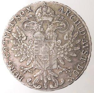 reverse: Monete Estere. Austria. Maria Teresa. 1740-1780. Tallero 1780. Ag. Peso 27,98 gr. Diametro mm. 40. qSPL. Patina.
