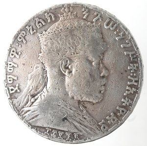 obverse: Monete Estere. Etiopia. Menelik II. 1889-1913. Birr 1892. Ag 835. Km. 19. Peso gr. 27,77. qBB.
